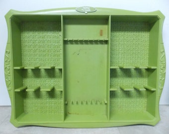 Mod Mid Century Profile by Oneida Plastic Avocado Green Flatware Tray