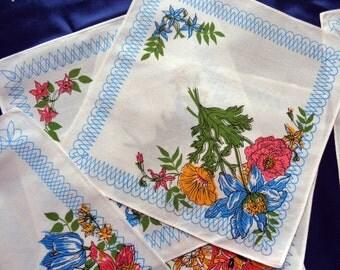 Vintage cotton floral handkerchiefs set of six
