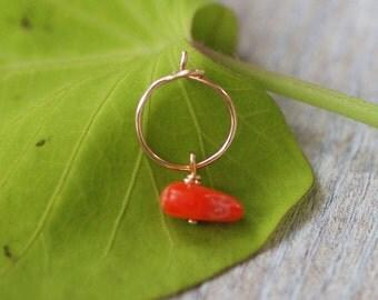 Coral helix Cartilage Earring, tiny gold hoop, gold coral Hoop Earrings, 14K Gold Filled hoop, silver small hoop earrings