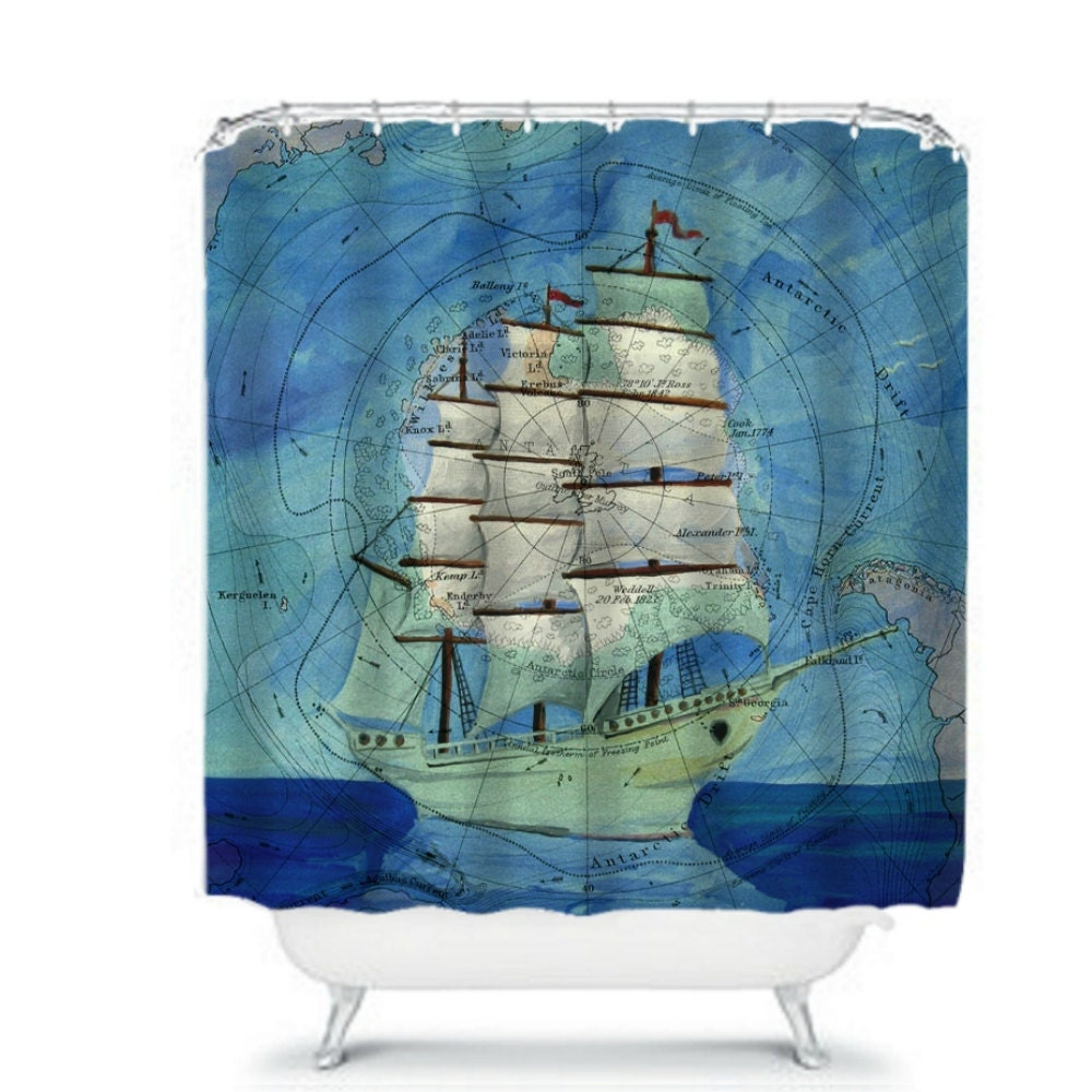 Cartoon Sailing Ship Design Shading Curtain Blackout: Shower Curtain Nautical Sailing Ship Map Ocean By FolkandFunky