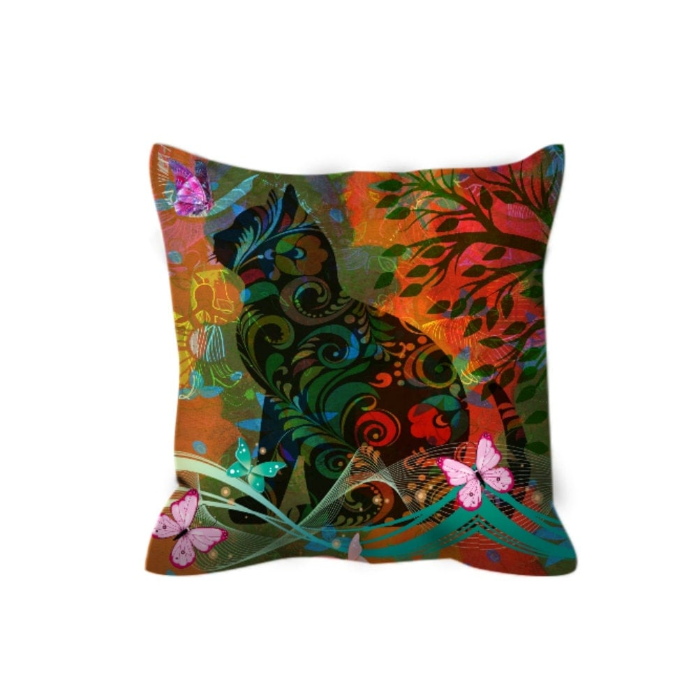 Kitty Throw Pillow : Cat Throw Pillow Funky Floral Decorative Pilllows