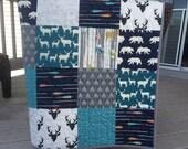 Woodland baby quilt, bear, deer, arrows, birch fabrics, navy-teal-gray-grey