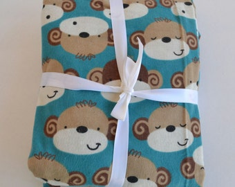 Flannel Fitted Crib Sheet, Monkey Crib Sheet, Toddler Bedding, Baby Bedding