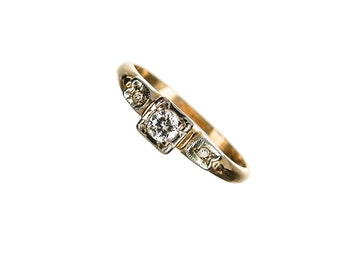 14k engagement ring 3 diamonds circa 1950 size 3