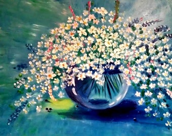 """Field Daisies in a Vase Oil on Canvas Original Painting 16""""x20"""""""