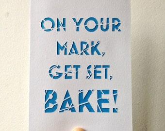 Handcut Great British Bake Off inspired Papercut Greeting Cards