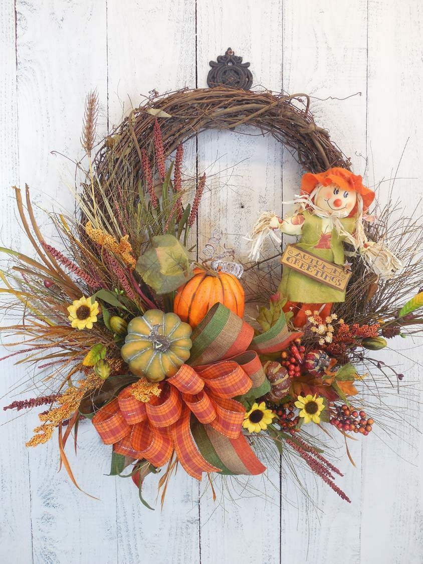 Fall Wreaths Scarecrow Wreaths For Fall Pumpkins Autumn