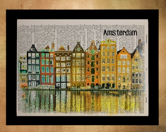 Amsterdam Houses Dictionary Art Print Netherlands Dutch Architecture Canal Gift Ideas Wall Art Home Decor da877