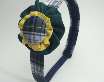 School Uniform Plaid Headband with Large Button (Upcycled)- MADE TO ORDER