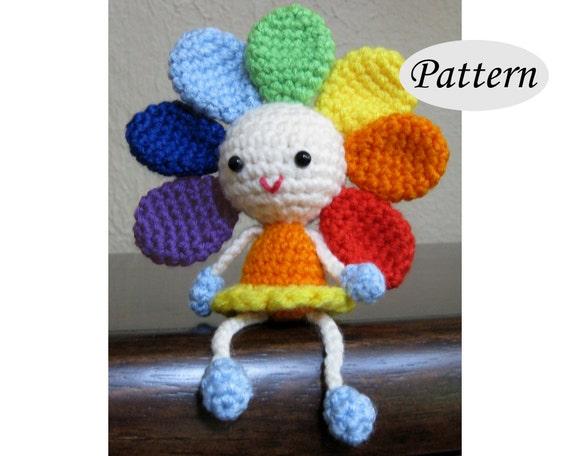 Amigurumi Flower Doll : RAINBOW FLOWER Amigurumi Pattern Crochet Doll Pattern
