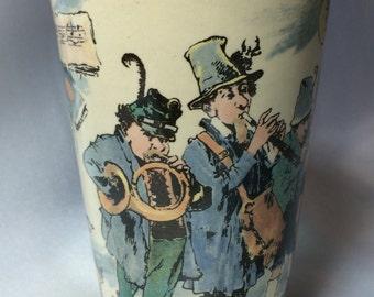 Villery and Boch Mettlach Beaker, Musicians; beaker, voilin musicians, 1110 over 2368, villeroy and boch