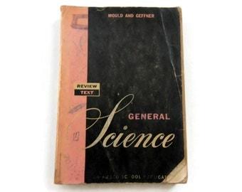 Vintage Review Text in General Science Textbook - by Mould & Geffner, 1959 - black, pink, schoolbook, educational, school