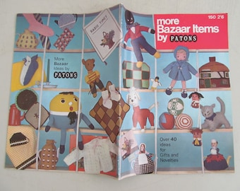 "Lovely vintage Patons Knitting Pattern book ""More Bazaar Items"" No.150~Over 40 patterns inc. teddy, doll, golly, Humpty Dumpty"