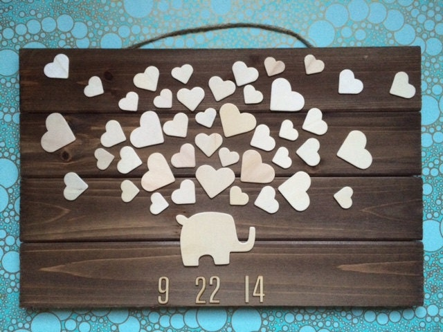 Baby Shower Guest Book Sign ~ Wooden elephant baby shower guest book up to hearts
