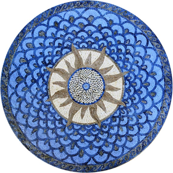 Sunburst Stone Mosaic Art Tile Design Medallion For Floor