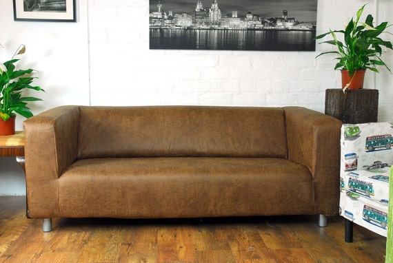 Ikea klippan 2 seat slip cover distressed leather look fabric - Klippan sofa ikea ...