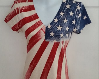 Womens American Flag V-Neck Shirt