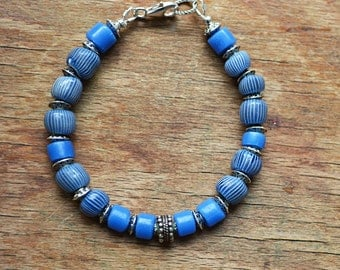 """Gooseberry trade bead bracelet with """"Russian Blue"""" trade beads and silver"""
