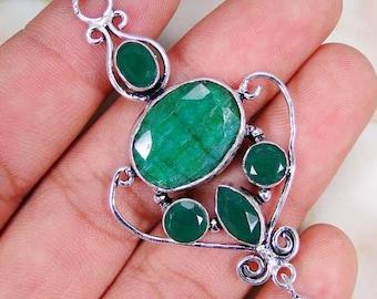 Pendant 925 sterling silver emerald