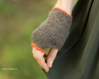 Hand Knitted Delicate Wool Modal Piped Edge Wrist Warmers / Fingerless Gloves / Arm Warmers