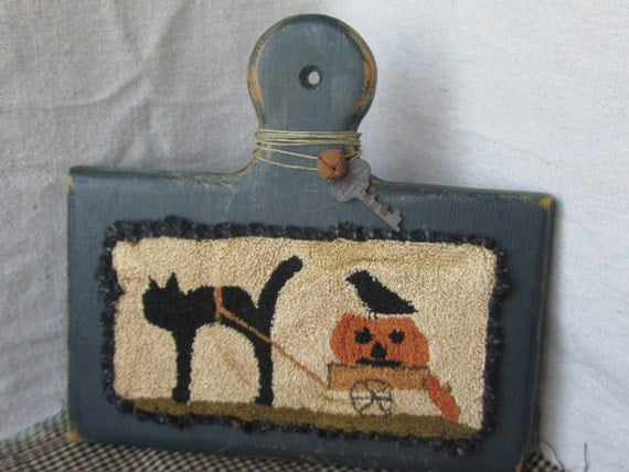 Primitive Needle Punch Halloween Folk Art on Horn Book ~ Cat with Pumpkin & Crow