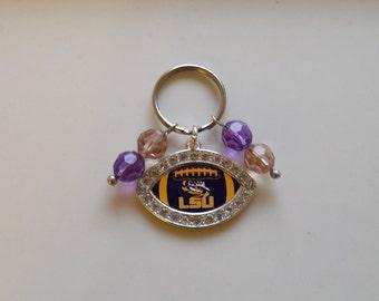 Keychain, LSU, Charm, Purple & Yellow, Keys, Student keychain, Alumni keychain, LSU Fan keychain, Tigers