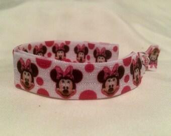 Minnie Mouse Fold Over Elastic Headband/ Stretchy Headband