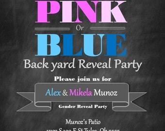 Gender Reveal backyard chalk patio Invitation