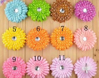 Mixed colors 15pcs Polka Dot daisy Flower Hair Clips ,Gerbera flower hair clips-Hair Accessories