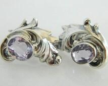 Beautiful Vintage Sterling Silver Amethyst Earrings
