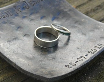 6th anniversary gift for her - iron anniversary gift - wedding ring dish for him - 11th steel anniversary - wedding gift - ring bearer