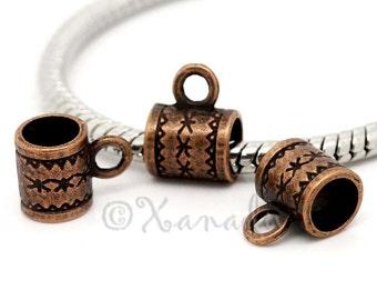 Copper European Large Hole Bail - 20/50/100 Wholesale Beads For European Charm Bracelets B9363