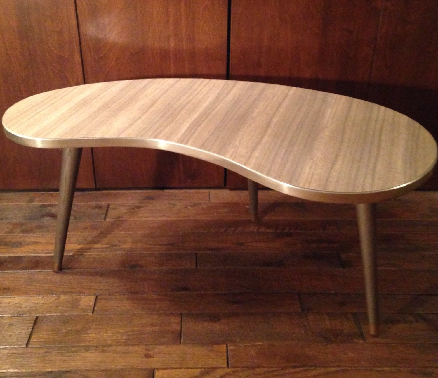 Kidney Bean Coffee Table Formica Top With Brass Edging And