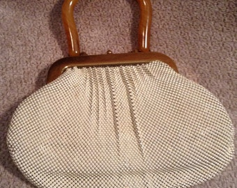 Mesh Purse - Whiting and Davis Co. Metal Mesh Purse With Bakelite Handle