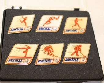 Vintage Olympic Pin Set Running, Basketball, Boxing, Gymnastics, Skiing, and Hockey Snickers Set 1991