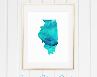 State of Illinois Map Print, Blue and Aqua Watercolor Style