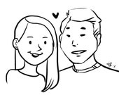 Custom portraits / Caricature / Personalized character / Classic black and white / Printables/Downloadable/Wedding Gift /Couple illustration