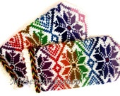 Hand knitted rainbow wool mittens Winter gloves Warm unisex mittens Patterned gloves Exclusive originally colorful latvian mittens Gift idea