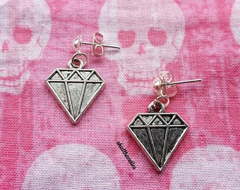 Scene emo diamond dangle stud earrings