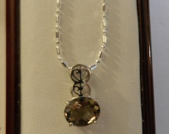 Oval Citrine set in 925 Silver Necklace. V1