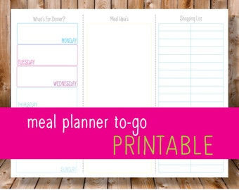 Meal Planner To-Go PRINTABLE