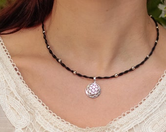 "Braided chain with sterling silver and ""Flower of life"""