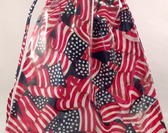 Knitting Window Project Bag Fabric Waving American Flags and Clear Vinyl