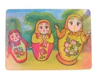 Matryoshka Dolls, Soviet vintage 3d stereo calendar, Bears, Soviet Union Vintage Postcard,  USSR, 1983, 1980s