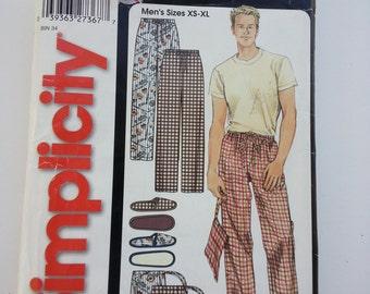 Mens pajama pants/ slippers men / man bag / elastic waist pants / 2003 sewing pattern, Size 30 32 34 36 38 40 42 44 46 48, Simplicity 5270