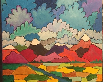 "Colorful Original 11"" x 14"" Abstract Landscape on stretched canvas"