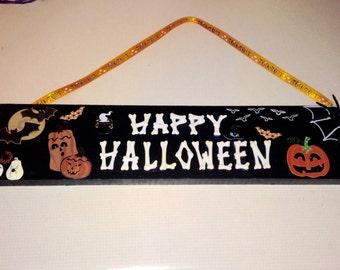 Happy Halloween Wood Sign •SALE