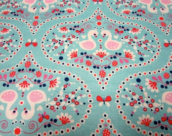 Child Swan Fabric in Aqua Called Flutterberry Designed by Melly and Me for Riley Blake Designs
