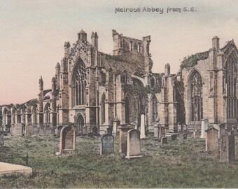 Melrose Abbey Cemetery, Scotland - Antique Postcard