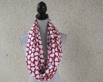 Fabric scarf, Infinity scarf, Hearts, Heart Scarf, Red scarf, Valentine's Day, Valentines scarf, Red and White Scarf, Cotton Scarf